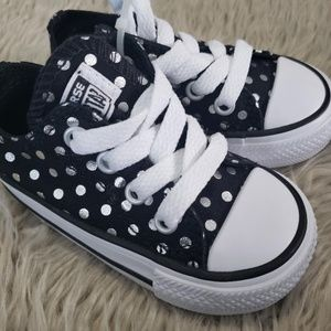 CONVERSE Black w/ Silver Polka Dots Toddler Shoes